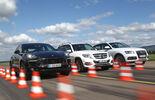 Audi Q5, Mercedes GLK, Porsche Macan, Front view