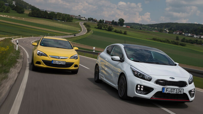 Kia Pro Cee'd GT Track, Opel Astra GTC 1.6 Turbo, Frontansicht