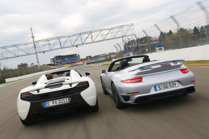 McLaren 650s Spider, Porsche 911 Turbo S Cabriolet, Rear view