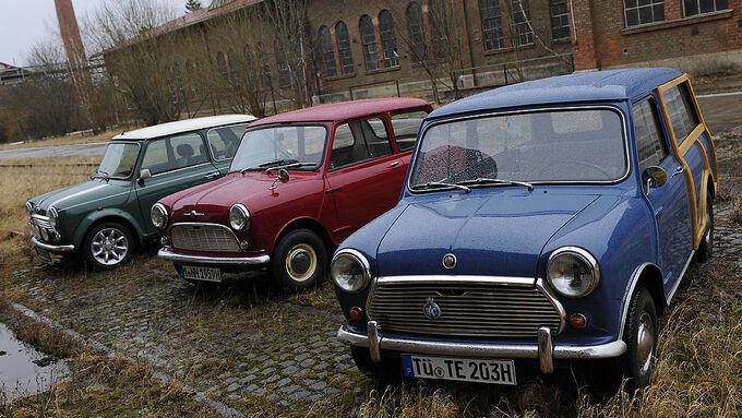 Morris Mini Minor 850, Austin Mini Traveller 1000 Mk II und Mini Cooper 1.3i